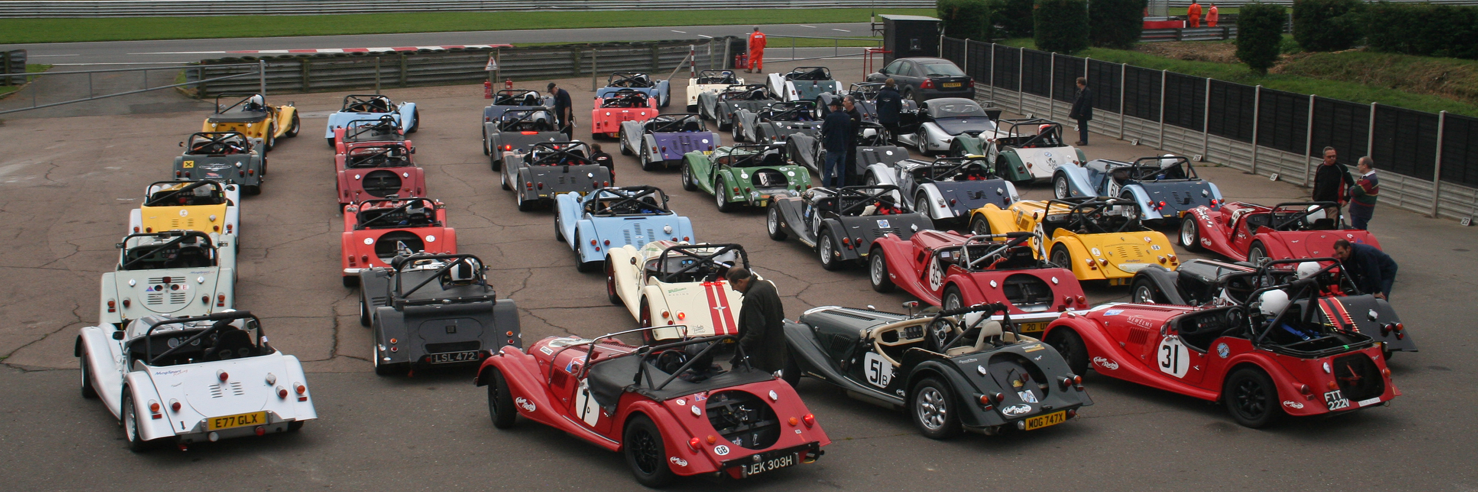 Morgan Challenge competitors in the collecting area at Snetterton